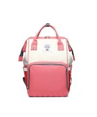 Сумка рюкзак для мам LeQueen персиково-серый