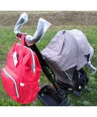 Сумка рюкзак для мам LeQueen красно-черный