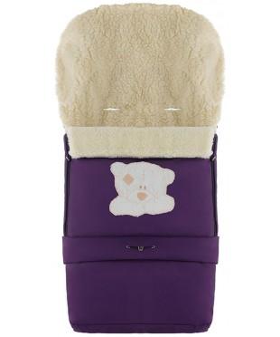 Конверт зимний на овчине удлиненный Babyroom №20  в коляску и санки Фиолетовый с Мишкой