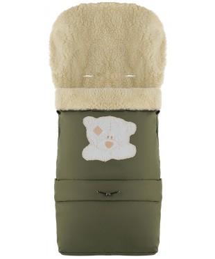 Конверт зимний на овчине удлиненный Babyroom №20  в коляску и санки Хаки с Мишкой