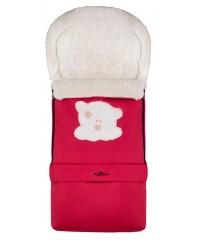 Конверт зимний на овчине удлиненный Babyroom №20  в коляску и санки Красный с Мишкой
