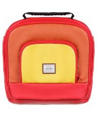Коляска 2 в 1 Adamex Luciano кожа 100% Q269 красный - оранжевый - желтый