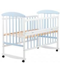 Детская кровать Наталка бело-голубая, откидной бок