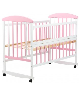 Детская кровать Наталка бело-розовая, откидной бок