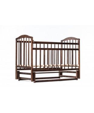 Детская кровать Чайка с опускающейся боковиной темный орех