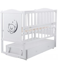 Кровать Babyroom Тедди Т-03 фигурное быльце, маятник, ящик, откидной бок белый