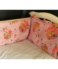 Защита для детской кроватки, Мишки и пчелки розовый