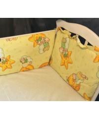 Защита для детской кроватки, Мишки на луне желтый