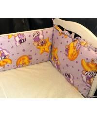 Защита для детской кроватки, Мишки на луне фиолетовый