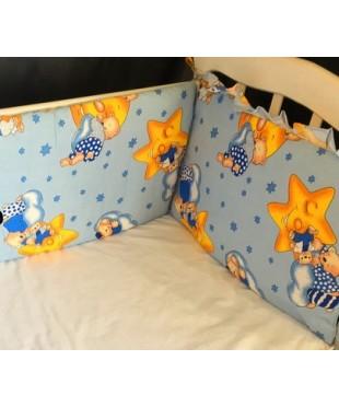 Защита для детской кроватки, Мишки на луне синий