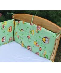 Защита для детской кроватки, Совушки на бирюзе