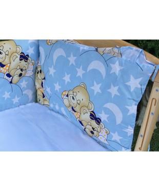 Защита для детской кроватки, Мишки спят синяя