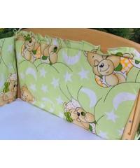 Защита для детской кроватки, Мишки спят салатовый