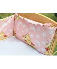 Защита для детской кроватки, Мишки спят розовая