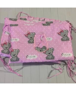Защита для детской кроватки, Я девочка It's a girl розовая