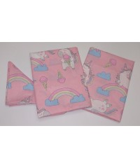Детский постельный комплект Единорог на розовом