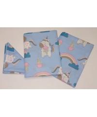 Детский постельный комплект Единорог на синем