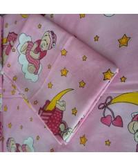 Детский постельный комплект Мишка на луне розовый