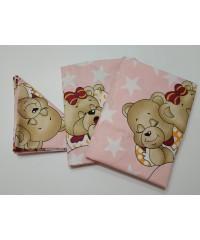 Детский постельный комплект  Мишки спят  розовый
