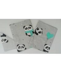 Детский постельный комплект Панда на сером с бирюзой