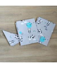 Детский постельный комплект Панда с шариком на сером
