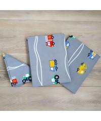 Детский постельный комплект Машинки на сером