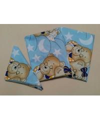 Детский постельный комплект  Мишки спят  голубой