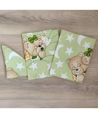 Детский постельный комплект  Мишки спят  зеленый