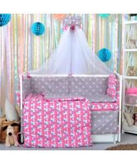 Детский постельный комплект Единороги и сердечки
