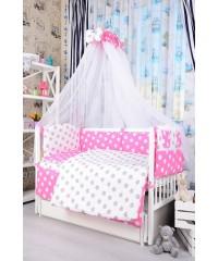 Детский постельный комплект Звездочки серо-розовые