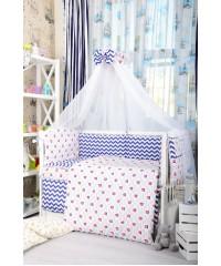 Детский постельный комплект Кораблик и зигзаги синие