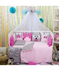 Детский постельный комплект Персонажи розовый