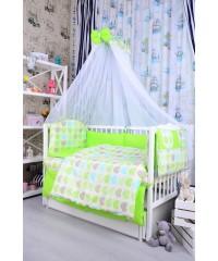 Детский постельный комплект Салат и сердечки цветные