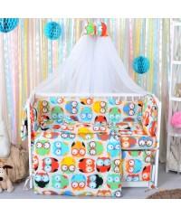 Детский постельный комплект Совы цветные (8 эл)