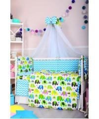 Детский постельный комплект Цветные слоники и мятный зигзаг