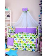 Детский постельный комплект Цветные слоники и фиолетовая точка