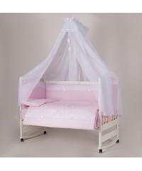 """Детский постельный комплект  """"Ажур"""" ( 7 эл) розовый"""