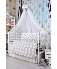Детский постельный комплект Совушки и звезды на сером