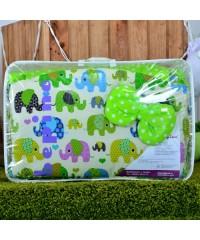 Детский постельный комплект Цветные слоники и салат