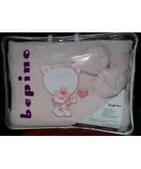Детский постельный комплект Мишка с сердечком (8 эл) розовый