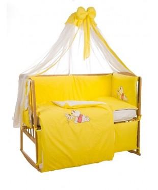 Детский постельный комплект  Мишка с ромашкой (8 эл) желтый