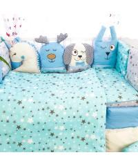 Детский постельный комплект Зверятки голубые