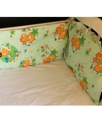 Защита для детской кроватки, Мишки и пчелки зеленый